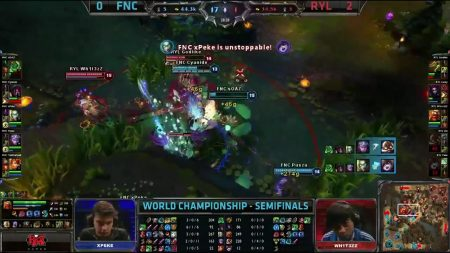 Fnatic defeating Royal Club during semifinals of S3 World Championship in League of Legends